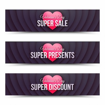 С днем святого валентина продажа веб-баннеры ретро-дизайн шаблон на белом фоне