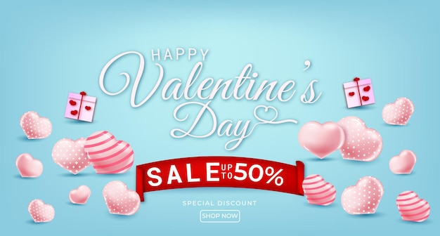 Happy valentines day sale with hearts