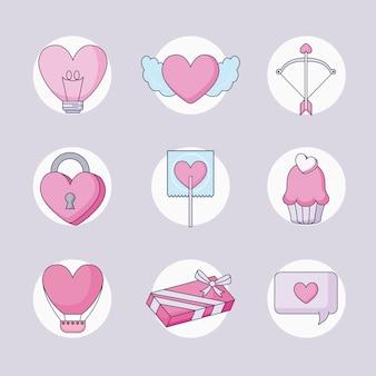 Happy valentines day set icons