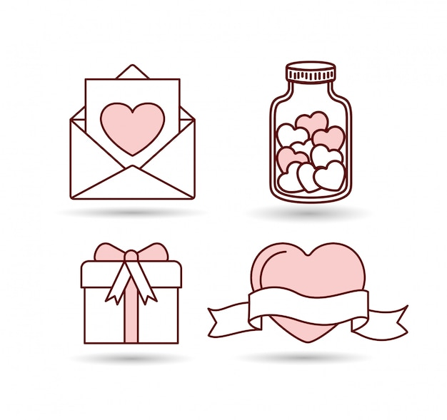 Happy valentines day set icons