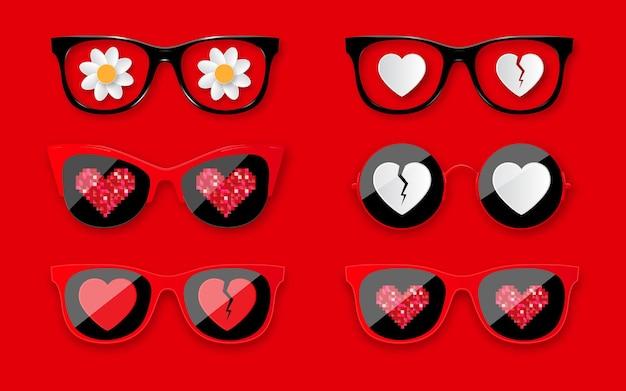 ハッピーバレンタインデー。ハートのサングラスをセット。バレンタインデーの休日のデザインのためのファッショナブルなメガネ。