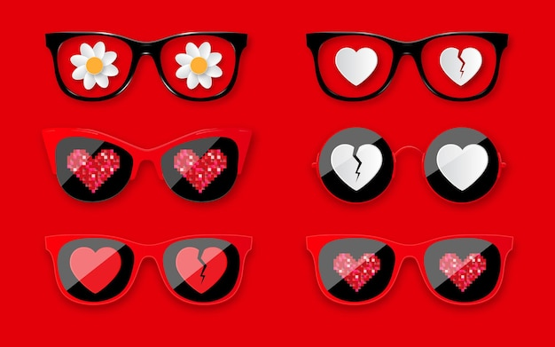 Happy valentines day. set sunglasses with hearts. fashionable glasses for valentine's day holiday design.