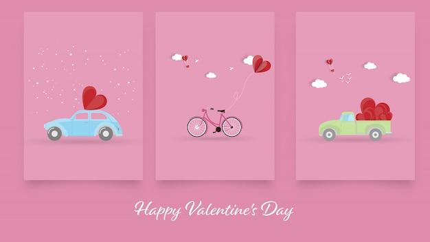 Happy valentines day, set of valentines day greeting card background