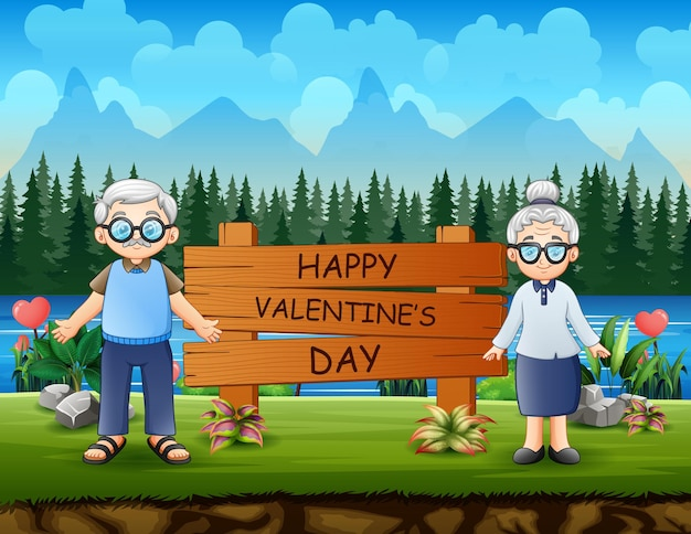 Happy valentines day sign with a couple grandparent