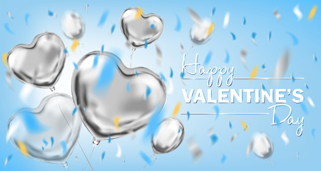 Happy valentines day sky blue card with metallic heart shape balloons
