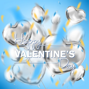 Happy valentines day sky blue square card with metallic heart shape air balloons