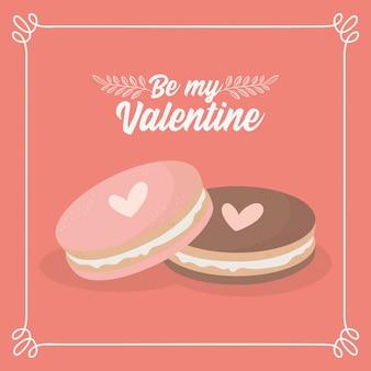 해피 발렌타인 데이 달콤한 쿠키 사랑 마음 사랑스러운