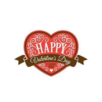 해피 발렌타인 데이 텍스트 레터링 심장 모양 템플릿입니다.