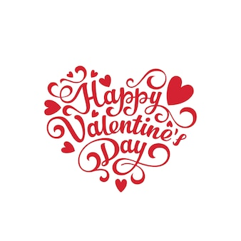 Happy valentines day text lettering heart shape