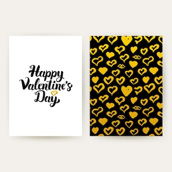 幸せなバレンタインデーのトレンディなポスター。手書きのレタリングとゴールドパターンデザインのベクトルイラスト。