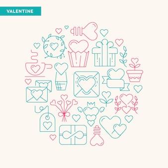 緑とバラの色のベクトル図によるさまざまな種類のギフトやおもちゃの手描きの幸せなバレンタインデーのタイポグラフィデザインカード