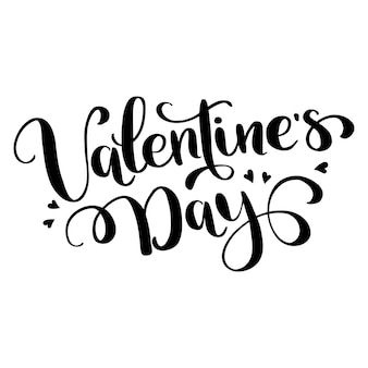 Happy valentines day typography with hand drawn calligraphy lettering