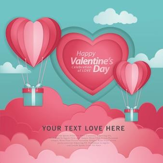 白い背景で飛んでいる紙カットの赤いハート型の熱気球で幸せなバレンタインデーのタイポグラフィ。