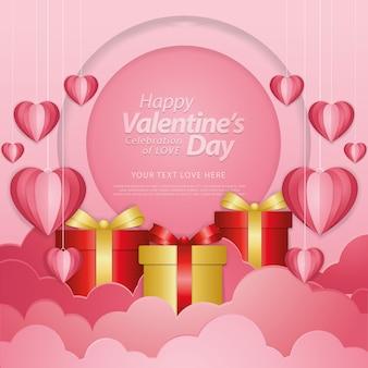 С днем святого валентина типография с вырезанными из бумаги воздушными шарами в форме красного сердца, летающими на белом фоне.