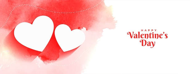 Happy valentines day watercolor banner