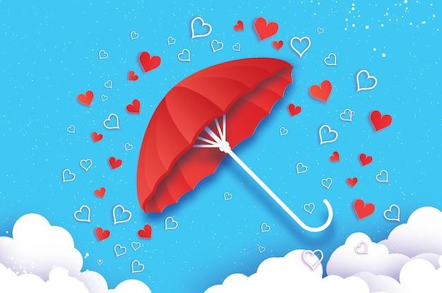 С днем святого валентина белый зонт воздух с любовью дождь оригами сердце сезон капель дождя сердце в стиле вырезки из бумаги на синем фоне романтические праздники любовь февраль