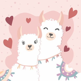 Happy valentines day with couple llama in love