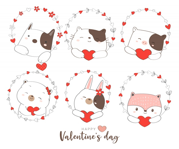 Happy valentines day with cute animal cartoon hand drawn style