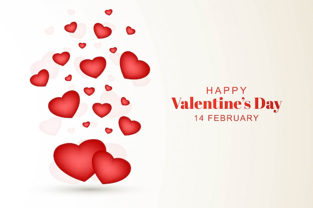 Happy valentines day with decorative hearts design