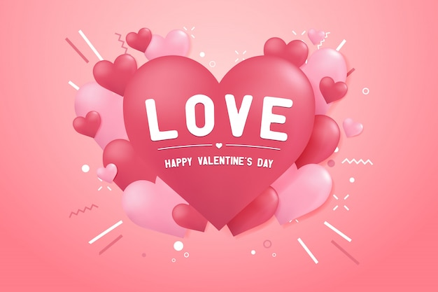 Happy valentines day with heart balloon shape background