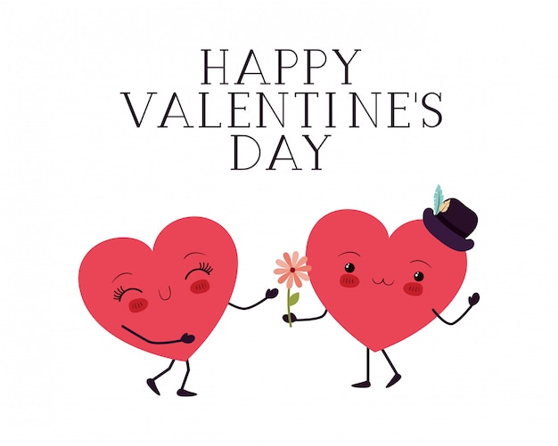 Happy valentines day with heart love kawaii character