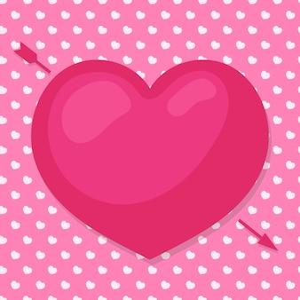 사랑스러운 마음과 귀여운 배경에 화살표가있는 해피 발렌타인 데이는 당신의 소원과 축하를 위해 사용합니다. 휴일 장식 요소. 삽화