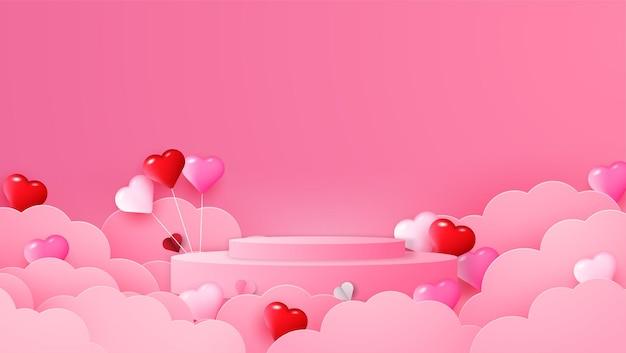 紙の心のイラストで幸せなバレンタインデー