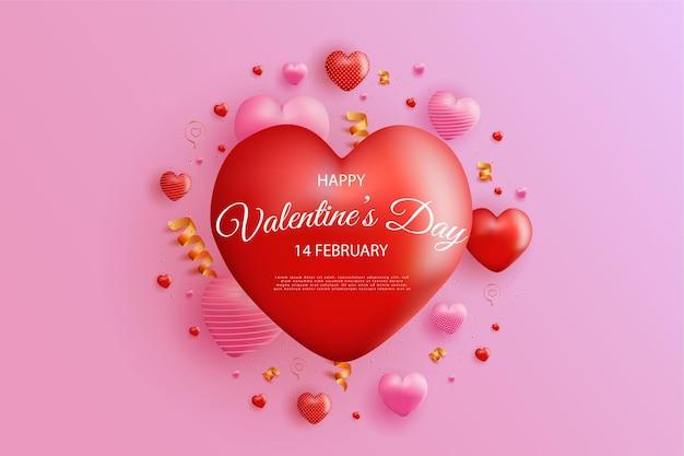 リアルな甘いハートの風船とゴールドのリボンの装飾で幸せなバレンタインデー