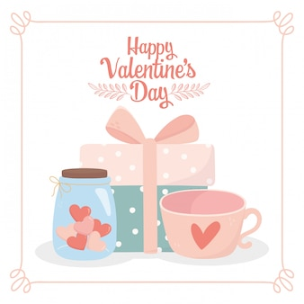 Happy valentines day wrapped gift box coffee cup and jar glass heart love card