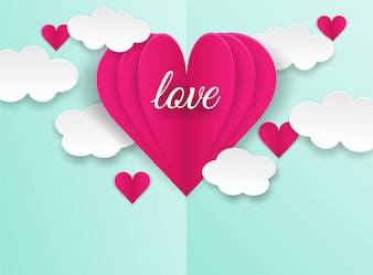 Happy Valentines .design with love text and hearts flying on green pastel  background.