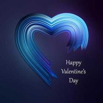 Счастливая форма кисти сердца валентинок жидкая. цвет валентина краска поток.