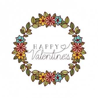 Happy valentines label with flower crown icons