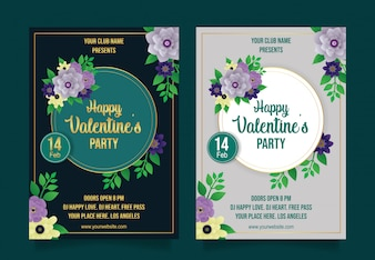 Happy valentines party flyer template