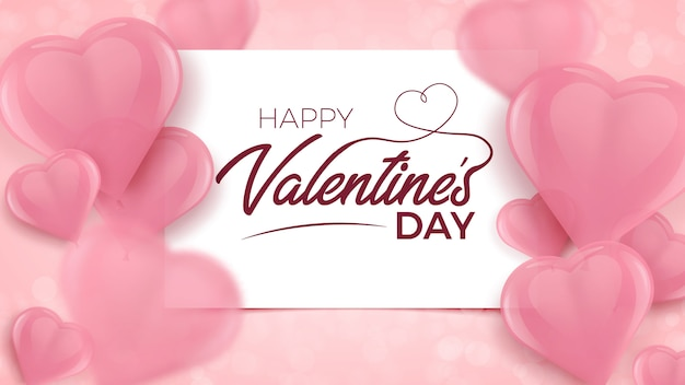Happy valentines with white frame and pink blurred 3d heart shaped balloons.