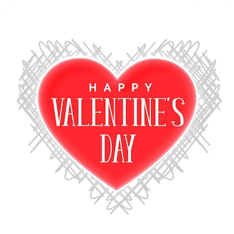 Happy vanetines day heart with scribble pattern