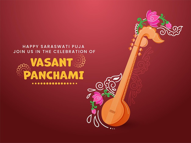 Happy vasant panchami celebration concept with veena instrument and floral