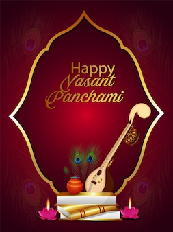 Happy vasant panchami flyer or poster with instruent