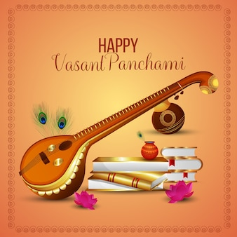 Happy vasant panchami greeting card and background