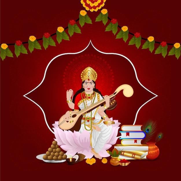 Happy vasant panchami greeting card design with creative illustration of goddess saraswati