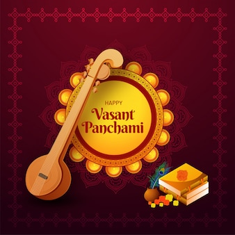 Happy vasant panchami greeting card design with illustration of