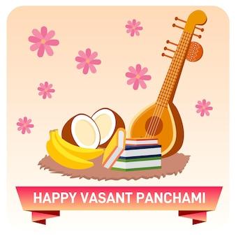 Happy vasant panchami illustration background
