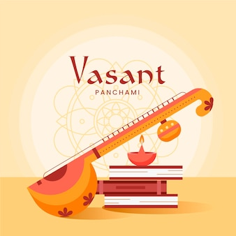 Happy vasant panchami instrument flat design