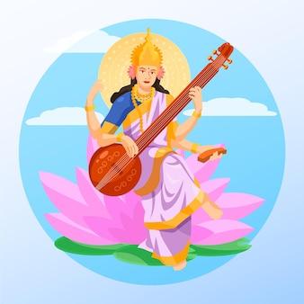 Happy vasant panchami instrument flat design