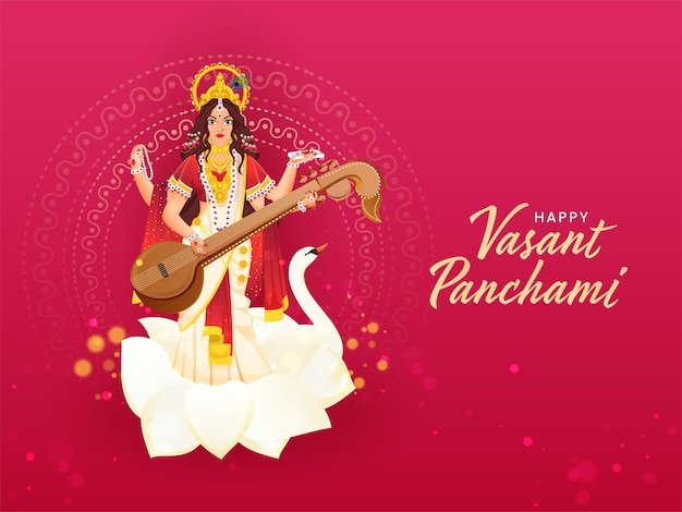 Happy vasant panchami text written hindi language with beautiful goddess saraswati character