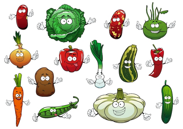 Happy vegetables cartoon characters