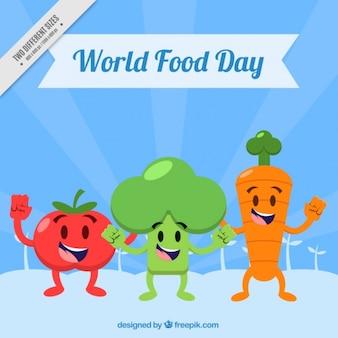 Счастливые овощи в мировой продовольственный день Бесплатные векторы