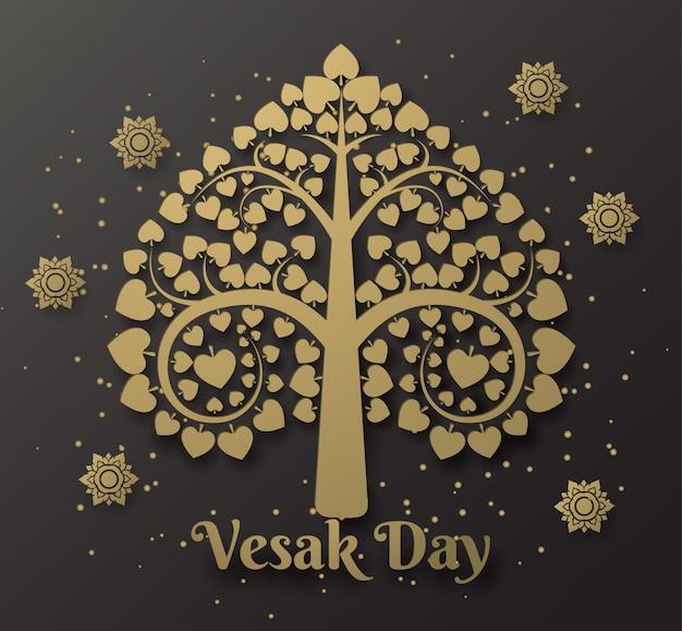 Happy vesak day background with bodhi tree