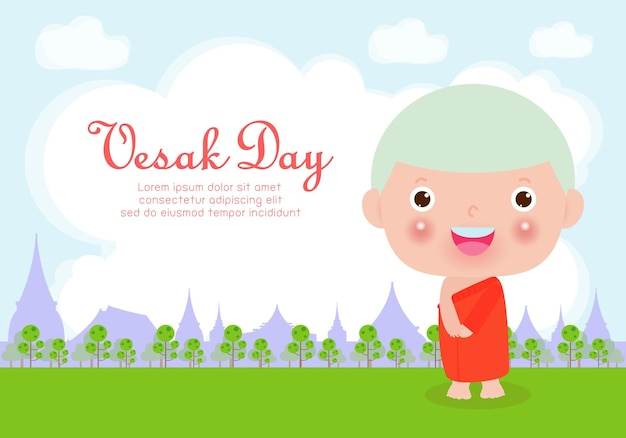 Happy vesak day card with cute monk in visakha puja day