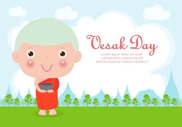 Happy vesak day card with cute monk in visakha puja day Premium Vector