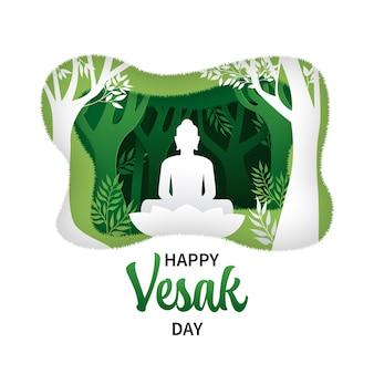 Happy vesak day greeting. buddha silhouette sitting under the tree, paper cutout style
